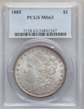 """Morgan Dollars, (2)1885 $1 MS63 PCGS. The current Coin Dealer Newsletter(Greysheet) wholesale """"bid"""" price is... (Total: 2 coins)"""