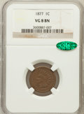 Indian Cents: , 1877 1C VG8 NGC. CAC. NGC Census: (384/2564). PCGS Population(286/2103). Mintage: 852,500. Numismedia Wsl. Price for probl...