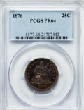 Proof Seated Quarters: , 1876 25C PR64 PCGS. PCGS Population (45/25). NGC Census: (50/53).Mintage: 1,150. Numismedia Wsl. Price for problem free NG...