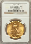 Errors, 1927 $20 Obv Struck Thru MS63 NGC. NGC Census: (40165/71778). PCGSPopulation (37164/74221). Mintage: 2,946,750. Numismedia...