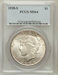 Peace Dollars: , 1928-S $1 MS64 PCGS. PCGS Population (1750/48). NGC Census:(1279/39). Mintage: 1,632,000. Numismedia Wsl. Price for proble...