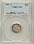Barber Dimes: , 1909-O 10C MS62 PCGS. PCGS Population (17/71). NGC Census: (9/62).Mintage: 2,287,000. Numismedia Wsl. Price for problem fr...