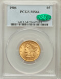 Liberty Half Eagles: , 1906 $5 MS64 PCGS. CAC. PCGS Population (180/91). NGC Census:(187/75). Mintage: 348,700. Numismedia Wsl. Price for problem...