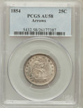 Seated Quarters: , 1854 25C Arrows AU58 PCGS. PCGS Population (65/198). NGC Census:(92/220). Mintage: 12,380,000. Numismedia Wsl. Price for p...