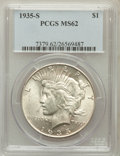 Peace Dollars: , 1935-S $1 MS62 PCGS. PCGS Population (541/3185). NGC Census:(369/1979). Mintage: 1,964,000. Numismedia Wsl. Price for prob...