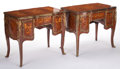 Furniture , A PAIR OF FRENCH LOUIS XV-STYLE KINGWOOD AND SATINWOOD MARQUETRY WRITING DESKS WITH GILT BRONZE MOUNTS. Circa 1900. 31-1/4 x... (Total: 2 Items)