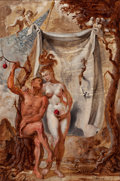 Fine Art - Painting, American:Contemporary   (1950 to present)  , JOSEPH SHERLY SHEPPARD (American, b. 1930). Adam and Eve,1956. Oil on wood panel. 24 x 16 inches (61.0 x 40.6 cm). Sign...