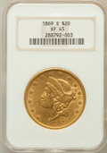 Liberty Double Eagles: , 1869-S $20 XF45 NGC. NGC Census: (226/942). PCGS Population(152/367). Mintage: 686,750. Numismedia Wsl. Price for problem ...