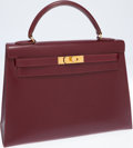 Luxury Accessories:Bags, Hermes 32cm Rouge H Calf Box Leather Sellier Kelly Bag with GoldHardware. ...
