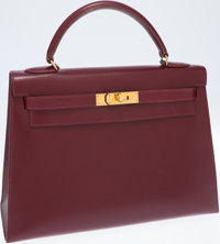 Hermes 32cm Rouge H Calf Box Leather Sellier Kelly Bag with Gold Hardware