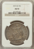 Trade Dollars: , 1873-CC T$1 AU55 NGC. NGC Census: (17/70). PCGS Population (25/68).Mintage: 124,500. Numismedia Wsl. Price for problem fre...