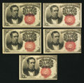 Fractional Currency:Fifth Issue, Fr. 1266 10¢ Fifth Issue Five Examples Very Fine-Extremely Fine or Better.. ... (Total: 5 notes)