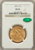 Liberty Eagles: , 1893 $10 MS60 NGC. CAC. NGC Census: (1768/29915). PCGS Population(1920/14783). Mintage: 1,840,895. Numismedia Wsl. Price f...