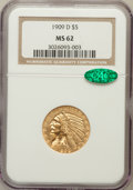 Indian Half Eagles: , 1909-D $5 MS62 NGC. CAC. NGC Census: (9696/10488). PCGS Population(8996/12207). Mintage: 3,423,560. Numismedia Wsl. Price ...