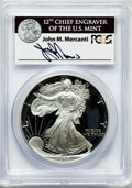 Modern Bullion Coins, 1993-P $1 One Ounce Silver Eagle Insert autographed By John M.Mercanti,12th Chief Engraver of the U.S. Mint, PR70 Deep Cameo...