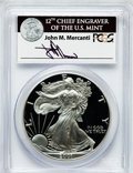 Modern Bullion Coins, 2001-W $1 One Ounce Silver Eagle Insert autographed By John M.Mercanti,12th Chief Engraver of the U.S. Mint, PR70 Deep Cameo...