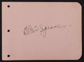 Baseball Collectibles:Others, Tris Speaker Signed Album Page....