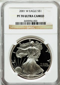 Modern Bullion Coins, 2001-W $1 One Ounce Silver Eagle PR70 Ultra Cameo NGC. NGC Census:(3483). PCGS Population (833). Numismedia Wsl. Price fo...
