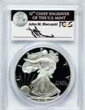 Modern Bullion Coins, 2002-W $1 One Ounce Silver Eagle Insert autographed By John M.Mercanti,12th Chief Engraver of the U.S. Mint PR70 Deep Cameo ...