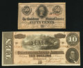 Confederate Notes:1863 Issues, T63 50 Cents 1863;. T68 $10 1864.. ...