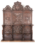 Furniture , A FRENCH RENAISSANCE-STYLE CARVED THREE-SEAT CHOIR STALL. 16th century (in part). 121-1/2 x 95-1/2 x 27-1/2 inches (308.6 x ...