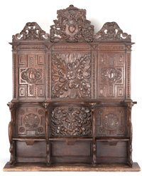 A FRENCH RENAISSANCE-STYLE CARVED THREE-SEAT CHOIR STALL 16th century (in part) 121-1/2 x 95-1/2 x 27-1/2 inche