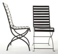 Furniture , A PAIR OF IRON AND STEEL SIDE CHAIRS . 20th century. 36-1/2 inches high x 15 inches wide x 19-1/2 inches deep (92.7 x 38.1 x... (Total: 2 Items)