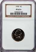 Proof Jefferson Nickels: , 1950 5C PR67 ★ NGC. NGC Census: (262/60). PCGS Population (288/18).Mintage: 51,386. Numismed...