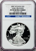 Modern Bullion Coins, 2007-W $1 Silver Eagle Early Releases PR70 Ultra Cameo NGC. NGCCensus: (16280). PCGS Population (918). (#149572)...