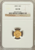 Gold Dollars: , 1853 G$1 AU58 NGC. NGC Census: (1493/7986). PCGS Population(1233/3692). Mintage: 4,076,051. Numismedia Wsl. Price for prob...