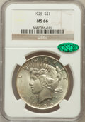 Peace Dollars: , 1925 $1 MS66 NGC. CAC. NGC Census: (1728/66). PCGS Population(1466/77). Mintage: 10,198,000. Numismedia Wsl. Price for pro...