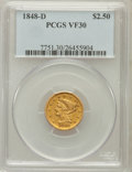 Liberty Quarter Eagles, 1848-D $2 1/2 VF30 PCGS. Variety 10-O (formerly 10-N)....