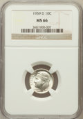 Roosevelt Dimes: , 1959-D 10C MS66 NGC. NGC Census: (351/217). PCGS Population(572/115). Mintage: 164,919,792. Numismedia Wsl. Price for prob...