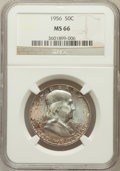 Franklin Half Dollars: , 1956 50C MS66 NGC. NGC Census: (591/1196). PCGS Population (584/9).Mintage: 4,000,000. Numismedia Wsl. Price for problem f...
