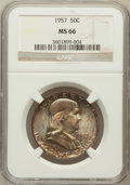Franklin Half Dollars: , 1957 50C MS66 NGC. NGC Census: (576/28). PCGS Population (768/11).Mintage: 5,100,000. Numismedia Wsl. Price for problem fr...