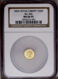 California Fractional Gold: , 1854 50C Liberty Octagonal 50 Cents, BG-306, R.4, MS66 NGC. PCGSPopulation (1/0). (#10426)...