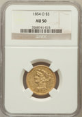 Liberty Half Eagles: , 1854-O $5 AU50 NGC. NGC Census: (15/89). PCGS Population (20/40).Mintage: 46,000. Numismedia Wsl. Price for problem free N...