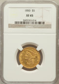 Liberty Half Eagles: , 1850 $5 XF45 NGC. NGC Census: (18/86). PCGS Population (7/43).Mintage: 64,400. Numismedia Wsl. Price for problem free NGC/...