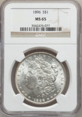 Morgan Dollars: , 1896 $1 MS65 NGC. NGC Census: (4232/675). PCGS Population(3571/717). Mintage: 9,976,762. Numismedia Wsl. Price forproblem...