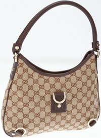 Gucci Brown Monogram Canvas and Dark Leather Abbey Hobo Bag