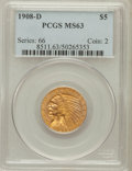 Indian Half Eagles: , 1908-D $5 MS63 PCGS. PCGS Population (1285/353). NGC Census:(960/476). Mintage: 148,000. Numismedia Wsl. Price for problem...