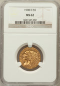 Indian Half Eagles: , 1908-D $5 MS62 NGC. NGC Census: (844/1433). PCGS Population(959/1643). Mintage: 148,000. Numismedia Wsl. Price for problem...