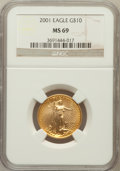 Modern Bullion Coins: , 2001 G$10 Quarter-Ounce Gold Eagle MS69 NGC. NGC Census:(3026/433). PCGS Population (2830/17). Numismedia Wsl. Price for...