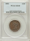 Half Cents: , 1853 1/2 C XF45 PCGS. PCGS Population (35/630). NGC Census:(9/777). Mintage: 129,694. Numismedia Wsl. Price for problem fr...