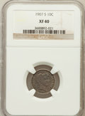 Barber Dimes: , 1907-S 10C XF40 NGC. NGC Census: (3/81). PCGS Population (5/135).Mintage: 3,178,470. Numismedia Wsl. Price for problem fre...