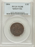 Half Cents: , 1804 1/2 C Spiked Chin VG8 PCGS. PCGS Population (2/290). NGCCensus: (3/206). Numismedia Wsl. Price for problem free NGC/...