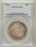 Seated Half Dollars: , 1843 50C XF45 PCGS. PCGS Population (50/141). NGC Census: (25/135).Mintage: 3,844,000. Numismedia Wsl. Price for problem f...