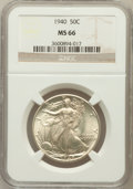 Walking Liberty Half Dollars: , 1940 50C MS66 NGC. NGC Census: (751/213). PCGS Population(1002/233). Mintage: 9,167,279. Numismedia Wsl. Price forproblem...