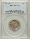Buffalo Nickels: , 1921-S 5C VF20 PCGS. PCGS Population (113/782). NGC Census:(79/543). Mintage: 1,557,000. Numismedia Wsl. Price for problem...