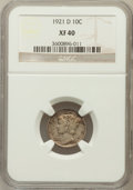 Mercury Dimes: , 1921-D 10C XF40 NGC. NGC Census: (38/193). PCGS Population(52/266). Mintage: 1,080,000. Numismedia Wsl. Price for problem ...